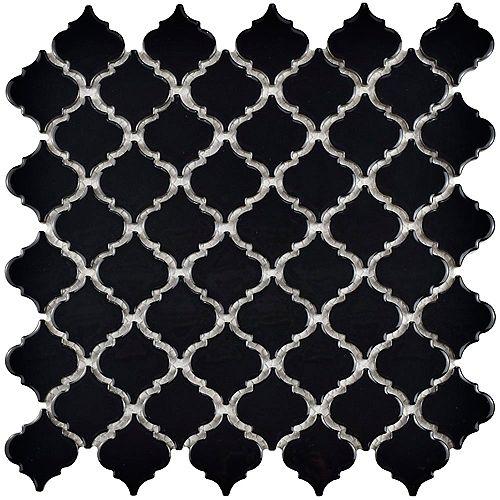 Merola Tile Hudson Tangier Glossy Black 12-3/8-inch x 12-1/2-inch x 5 mm Porcelain Mosaic Tile (10.96 sq ft/case)