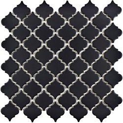 Merola Tile Hudson Tangier Matte Black 12-3/8-inch x 12-1/2-inch x 5 mm Porcelain Mosaic Tile (10.96 sq ft/case)