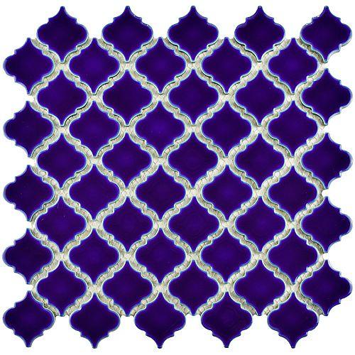 Merola Tile Hudson Tangier Cobalt Blue 12-3/8-inch x 12-1/2-inch x 5 mm Porcelain Mosaic Tile (10.96 sqft/case)