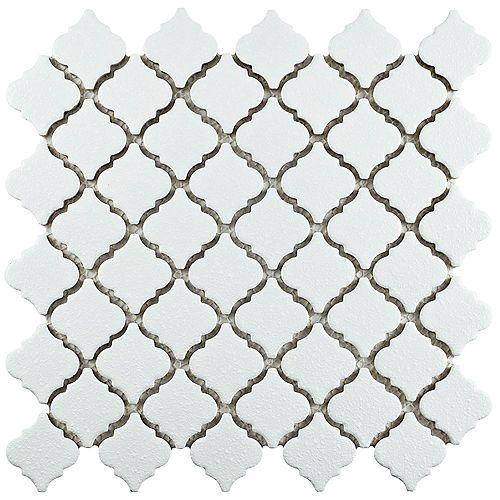 Merola Tile Hudson Tangier Crystalline White 12-3/8-inch x 12-1/2-inch x 5 mm Porcelain Mosaic Tile(10.96 sf/ca)