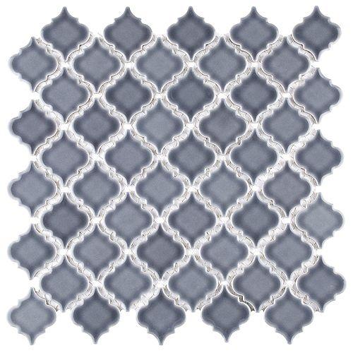 Merola Tile Hudson Tangier Imperial Grey 12-3/8-inch x 12-1/2-inch x 5 mm Porcelain Mosaic Tile(10.96 sq ft/case)