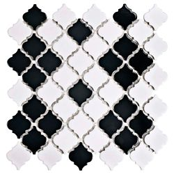 Merola Tile Hudson Tangier Black & White Mimos 12-3/8-inch x 12-1/2-inch x 5mm Porcelain Mosaic Tile(10.96sf/ca)