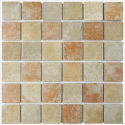 Merola Tile Colorado Quad Adobe 12-1/2-inch x 12-1/2-inch x 5 mm Porcelain Mosaic Tile (11.07 sq. ft. / case)