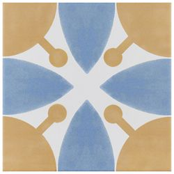 Merola Tile Revival Leaf 7-3/4-inch x 7-3/4-inch Ceramic Floor and Wall Tile (11 sq. ft. / case)