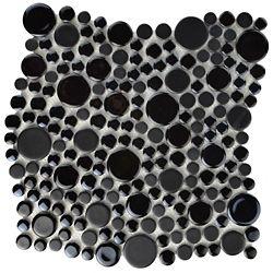 Merola Tile Cosmo Bubble Black 11-1/4-inch x 12-inch x 8 mm Porcelain Mosaic Tile (9.58 sq. ft. / case)