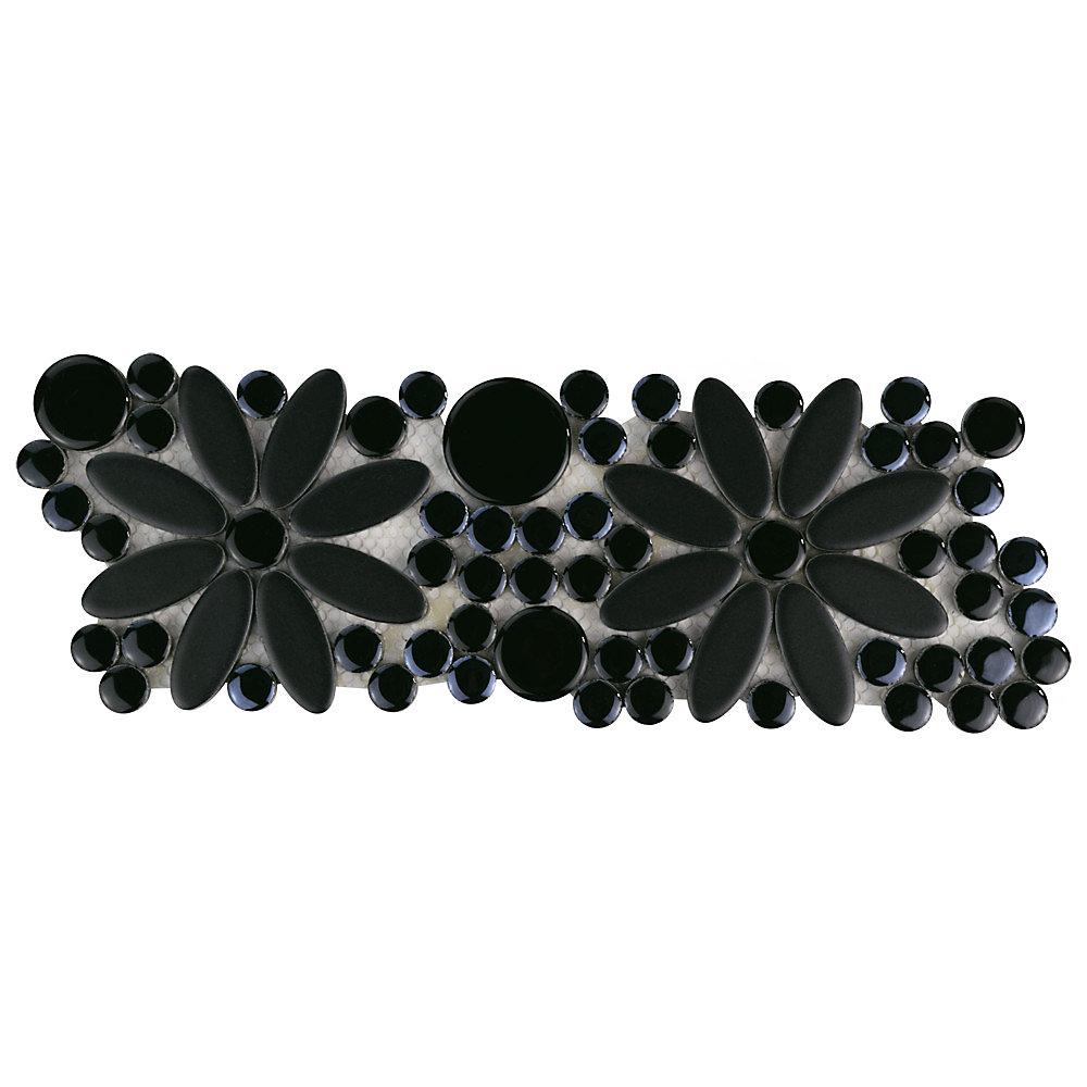 Frise en mosaïque de porcelaine 4 1/4 po x 12 3/4 po x 9 mm Galaxy Flower, noir (5,87 pi2/bte)