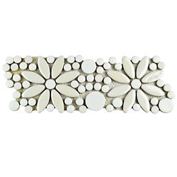 Merola Tile Galaxy Flower White 4-1/4-inch x 12-3/4-inch x 9 mm Porcelain Border Mosaic Tile (5.87 sq.ft./case)