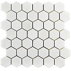 Carreau mosaïq hex marbre naturel 11 3/4 po x 12 po x 8 mm Structure Due Thassos blanc (10 pi2/bte)