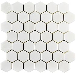 Merola Tile Structure Due Hex Thassos White 11 3/4-inch x 12-inch x 8 mm Natural Marble Mosaic Tile (10 sq. ft. / case)