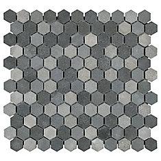 Carreau mosaïque hex pierre de lave naturelle 11 po x 11 5/8 po x 8 mm Structure noir (9,08 pi2/bte)