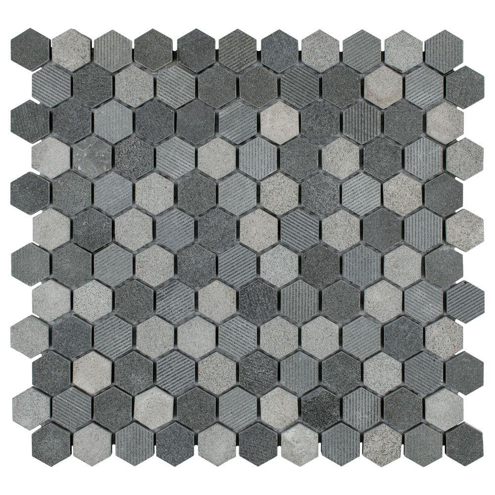 Merola Tile Structure Hex Black 11-inch x 11-5/8-inch x 8 mm Natural Lava Stone Mosaic Tile(9.08 sq. ft. / case)