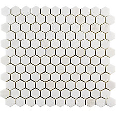 Carreau mosaïque hex marbre naturel 11 po x 11 5/8 po x 8 mm Structure Thassos blanc (9,08 pi2/bte)