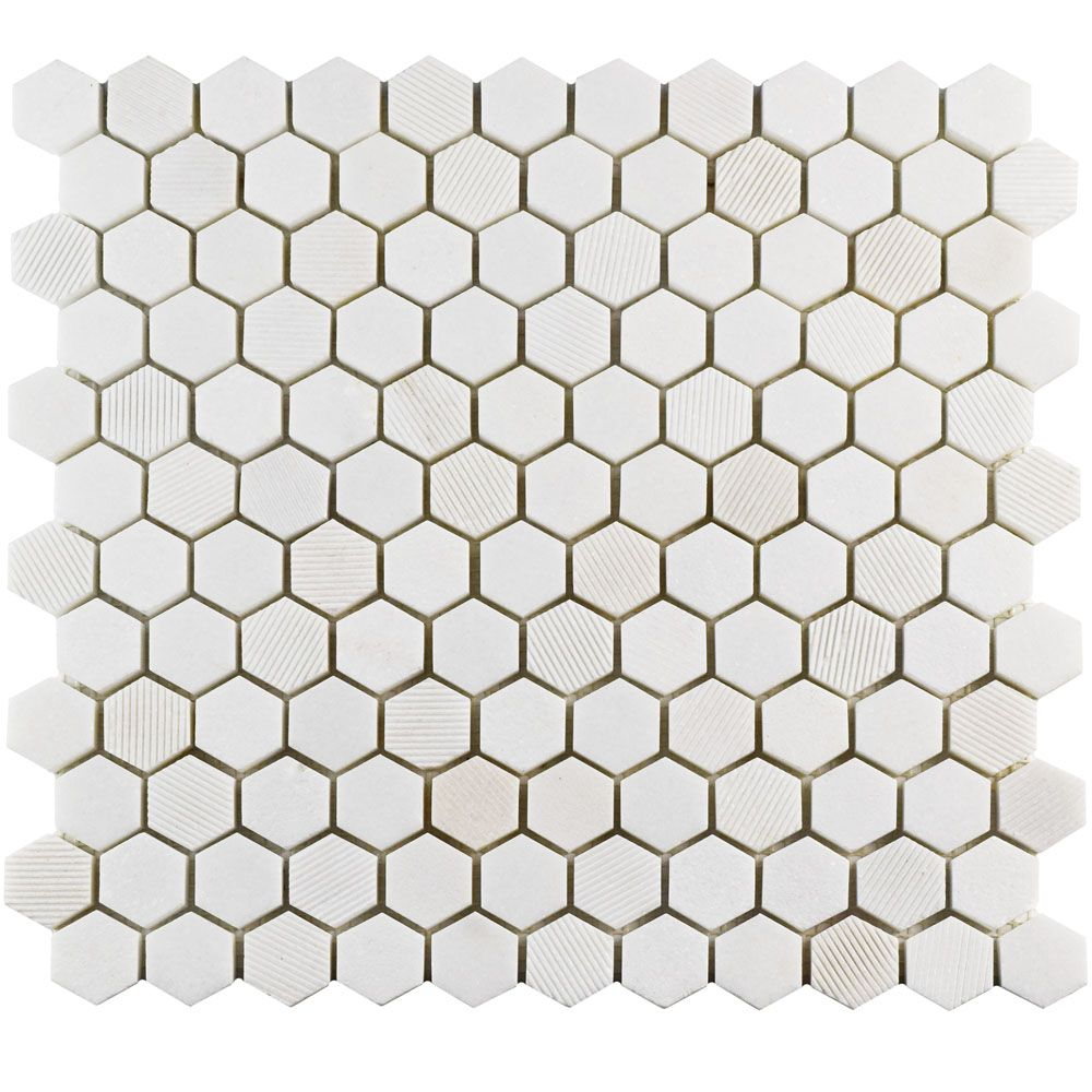 Merola Tile Structure Hex Thassos White 11-inch x 11-5/8-inch x 8 mm Natural Marble Mosaic Tile (9.08 sqft/case)