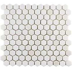 Merola Tile Structure Hex Thassos White 11-inch x 11 5/8-inch x 8 mm Natural Marble Mosaic Tile (9.08 sq. ft. / case)