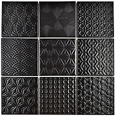 Spirit Black 11-5/8-inch x 11-5/8-inch x 6 mm Porcelain Mosaic Tile (9.59 sq. ft. / case)