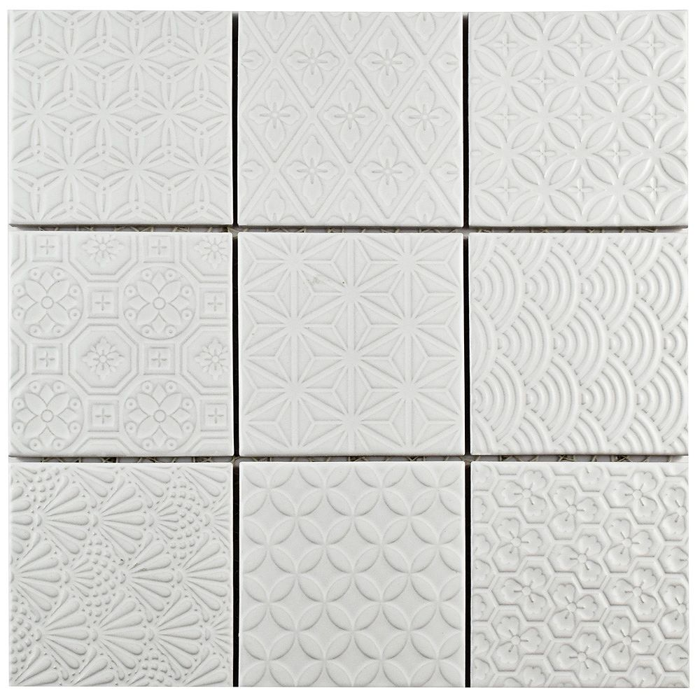 Merola Tile Spirit White 11-5/8-inch x 11-5/8-inch x 6 mm Porcelain Mosaic Tile (9.59 sq. ft. / case)