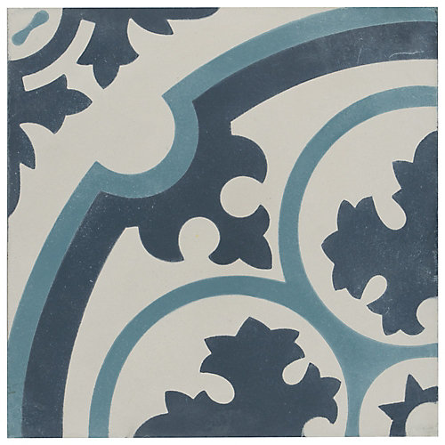Cemento Queen Mary Sky 7-7/8-inch x 7-7/8-inch Handmade Cement Floor and Wall Tile (5.5 sq.ft./case)