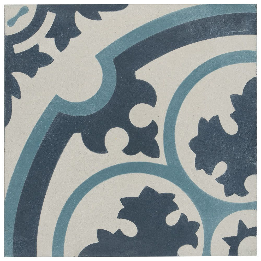 Merola Tile Cemento Queen Mary Sky 7-7/8-inch x 7-7/8-inch Handmade Cement Floor and Wall Tile (5.5 sq.ft./case)