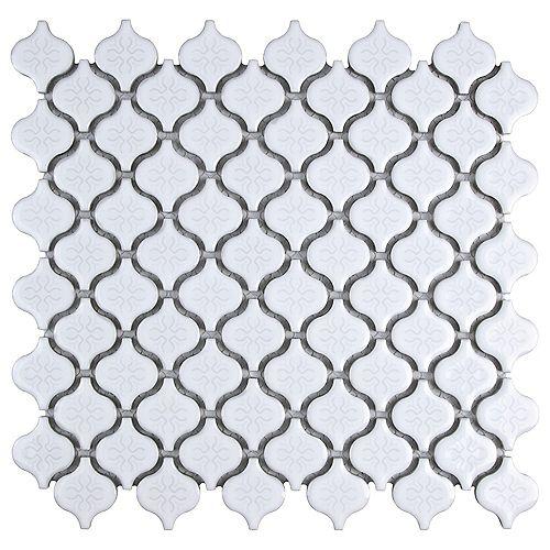 Merola Tile Lantern Mini Glossy White 10-3/4-inch x 11-1/4-inch x 5 mm Porcelain Mosaic Tile (8.59 sq.ft./case)