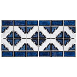 Merola Tile Palace Cobalt with White Border 5-3/4-inch x 11-3/4-inch x 5 mm Porcelain Mosaic Tile (4.84 sf/case)