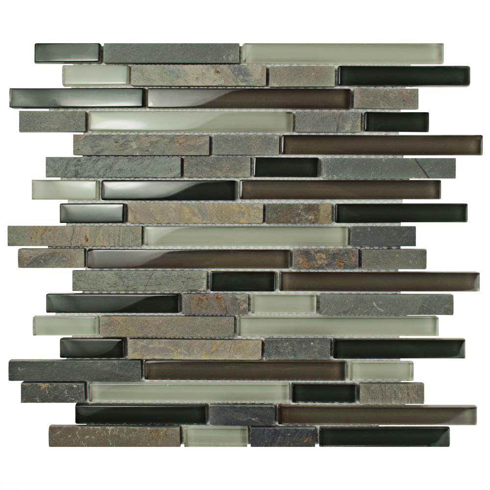 Merola Tile Tessera Piano Stonehenge 11-5/8-inch x 11-3/4-inch x 8 mm Glass and Stone Mosaic Tile (4.84 sf/case)