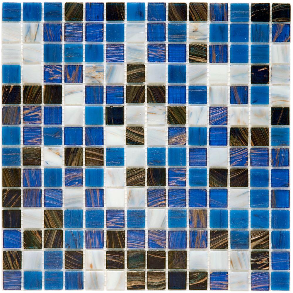 Merola Tile Coppa Marina 12-inch x 12-inch x 4 mm Glass Mosaic Tile (13.27 sq. ft. / case)