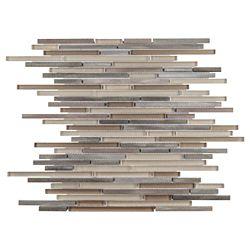 Merola Tile Fusion Mini Linear Amador 11-3/4-inch x 11-3/4-inch x 6mm Brushed Aluminum & Glass Mosaic(9.79sf/ca)