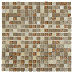 Merola Tile Tessera Mini Amber 11-3/4-inch x 11-3/4-inch x 8 mm Glass and Stone Mosaic Tile(9.79 sq. ft. / case)