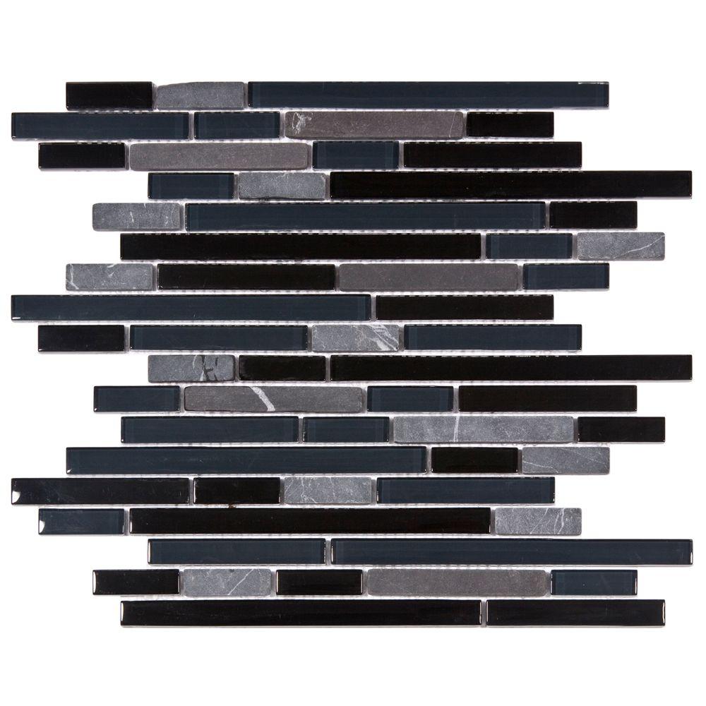 Merola Tile Tessera Piano Bizancio 11-3/4-inch x 11-7/8-inch x 8 mm Glass and Stone Mosaic Tile (9.9 sqft/case)