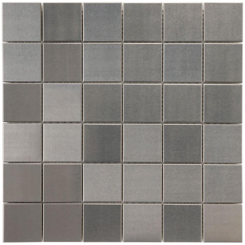 Merola Tile Alloy Quad 11-7/8-inch x 11-7/8-inch x 8 mm Stainless Steel Over Porcelain Mosaic Tile(10 sqft/case)