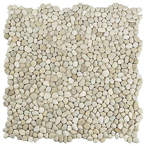Pebblini Sandstone 12-1/4-inch x 12-1/4-inch x 7mm Pebble Stone Mosaic Tile (10.63 sq. ft. / case)