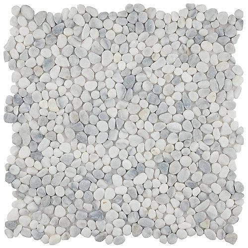 Pebblini White Smoke 12-1/4-inch x 12-1/4-inch x 7mm Pebble Stone Mosaic Tile (10.63 sq. ft. / case)