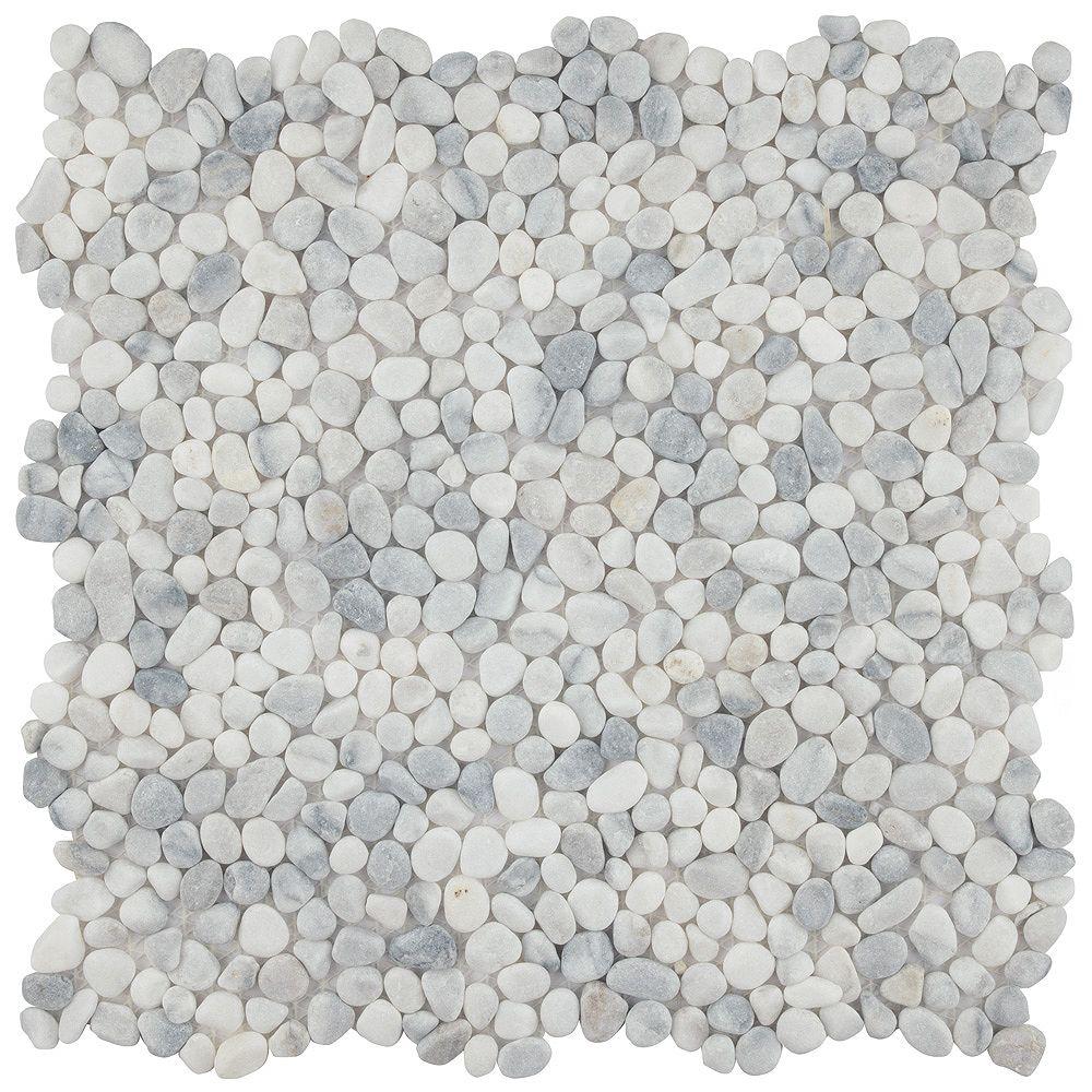 Merola Tile Pebblini White Smoke 12-1/4-inch x 12-1/4-inch x 7mm Pebble Stone Mosaic Tile (10.63 sq. ft. / case)