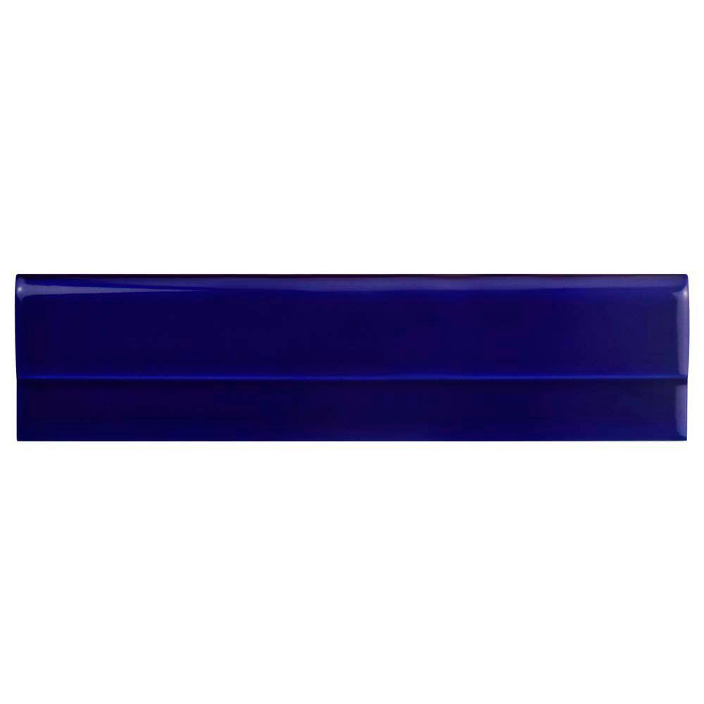 Merola Tile Artesanal Azul Moldura Plana 2-3/4-inch x 11-inch Ceramic Wall Trim Tile (4.69 Ln. ft. / case)