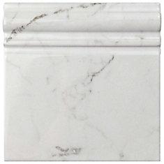 Classico Carrara Glossy Skirting Base 6-inch x 6-inch Ceramic Wall Trim Tile (5.21 Ln. ft. / case)