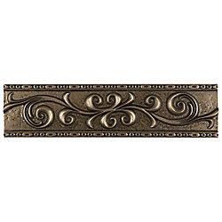 Merola Tile Contempo Scroll Liner Bronze 3-inch x 12-inch Metallic Wall Trim Tile (5.1 Ln. ft. / case)