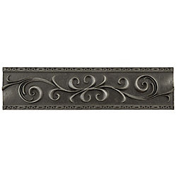 Merola Tile Contempo Scroll Liner Wrought Iron 3-inch x 12-inch Metallic Wall Trim Tile (5.1 Ln. ft. / case)