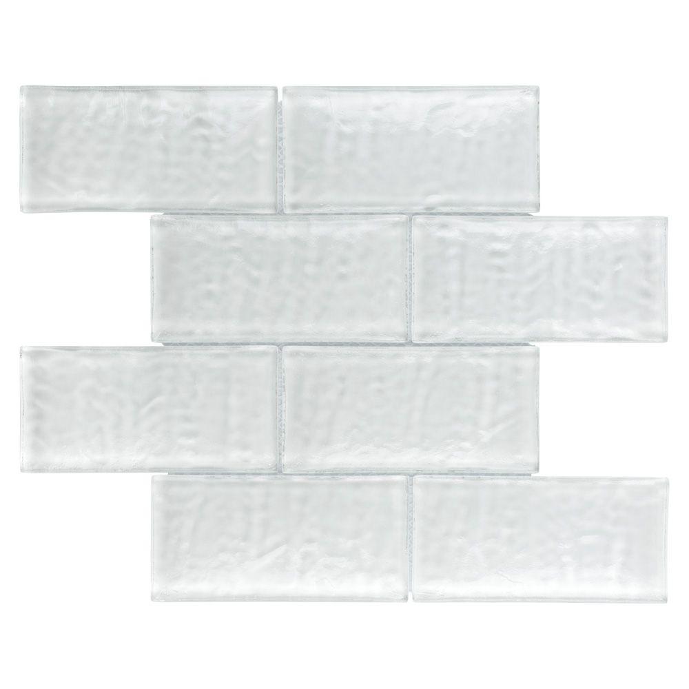 Merola Tile Igloo Convex Subway Glacier White 11-5/8-inch x 11-7/8-inch x 12 mm Glass Mosaic Tile (4.9 sf/case)