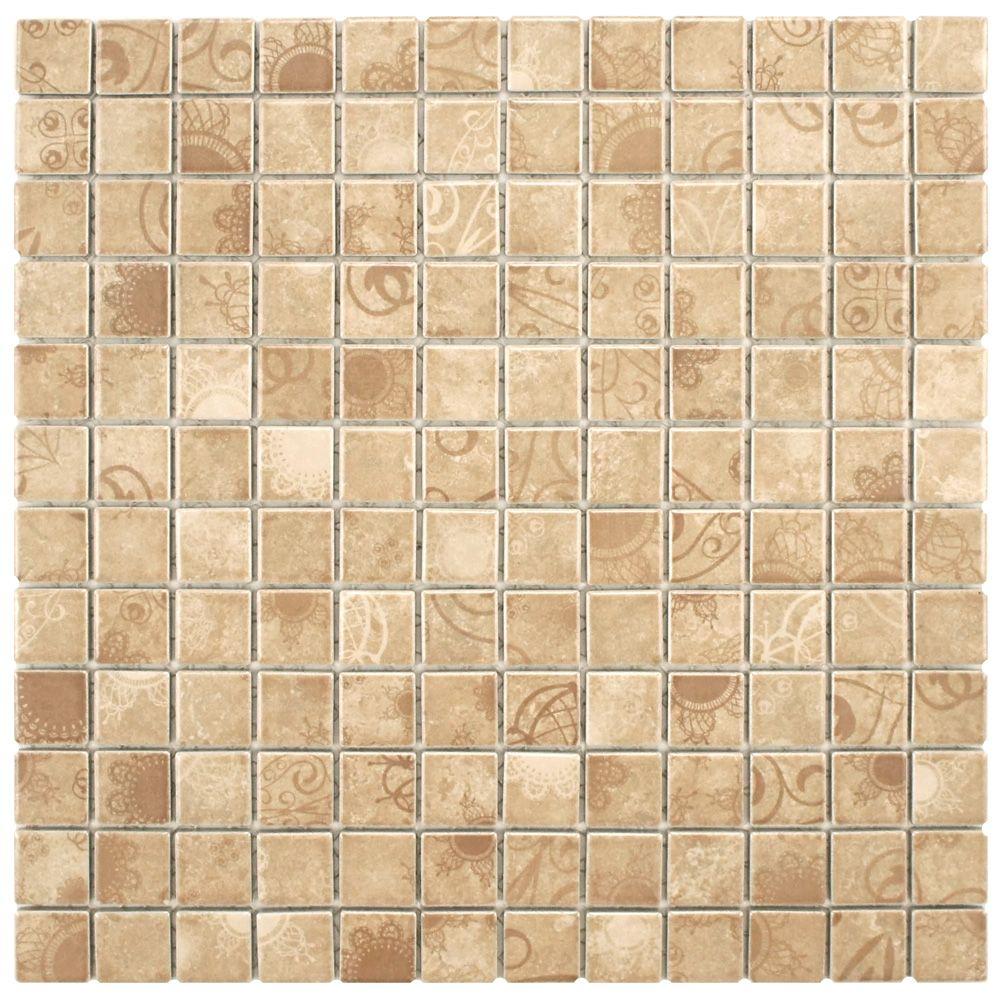 Merola Tile Laceo Beige 11-5/8-inch x 11-5/8-inch x 6 mm Porcelain Mosaic Tile (9.59 sq. ft. / case)