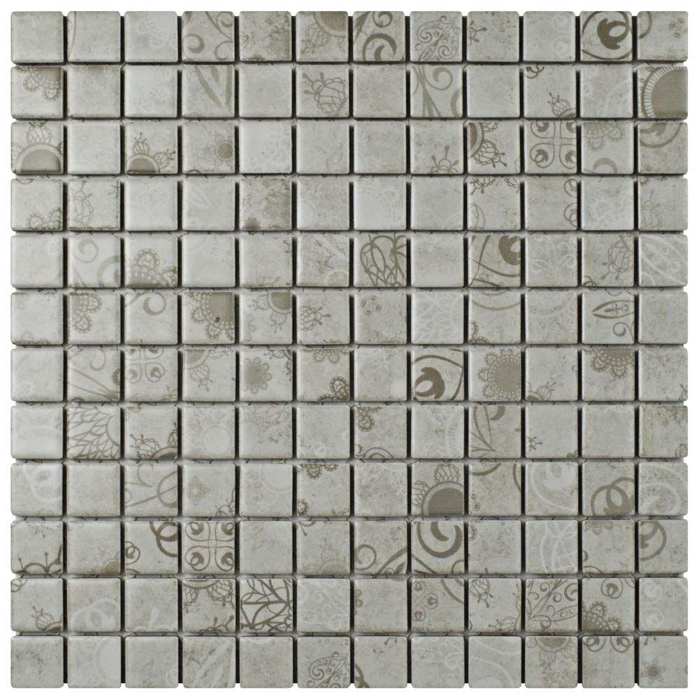 Laceo Grey 11-5/8-inch x 11-5/8-inch x 6 mm Porcelain Mosaic Tile (9.59 sq. ft. / case)