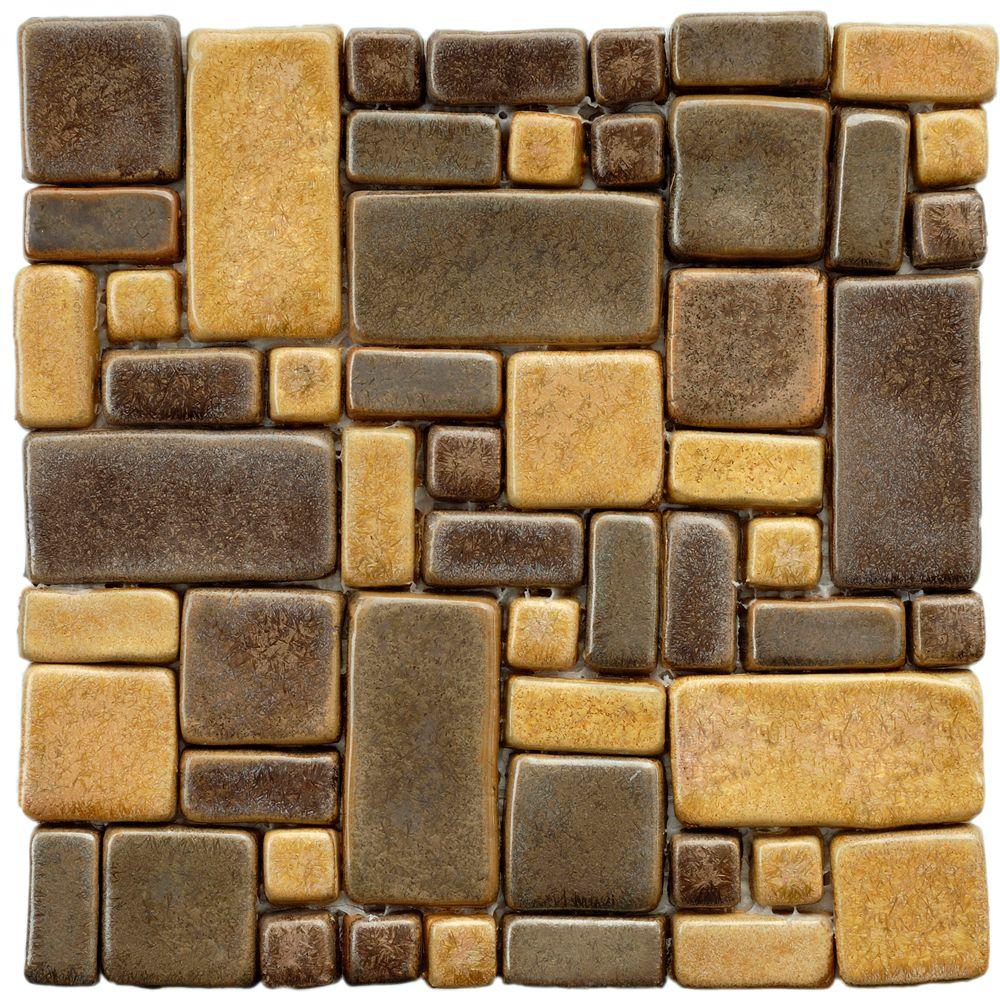 Merola Tile Cobble Cimarron 12-inch x 12-inch x 12 mm Ceramic Mosaic Tile (5.1 sq. ft. / case)