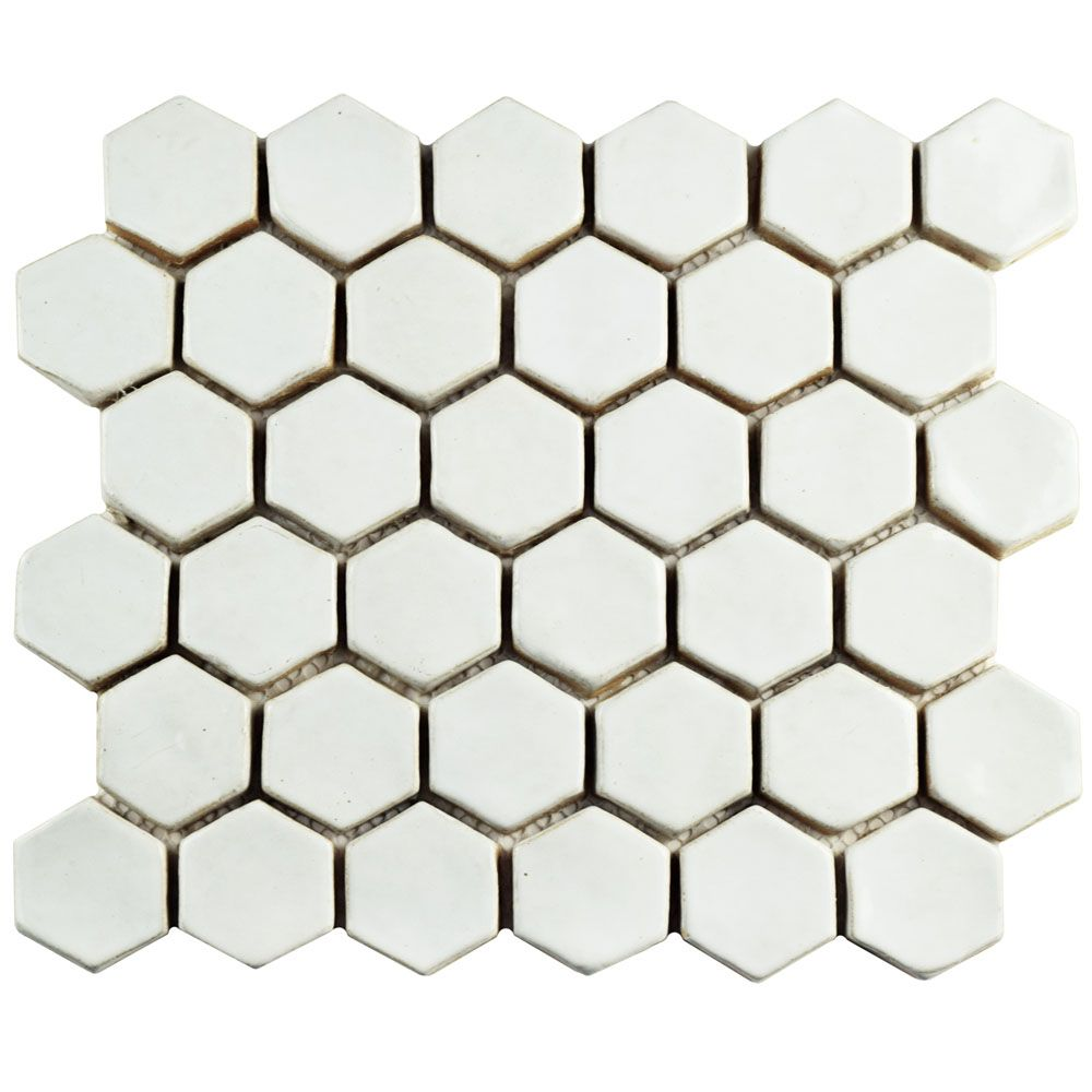 Merola Tile Cobble Hexagon White 10-1/2-inch x 12-inch x 13 mm Ceramic Mosaic Tile (4.47 sq. ft. / case)