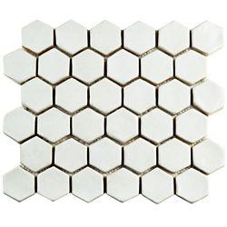 Merola Tile Carreau de mosaïque hex en pierres rondes 10 1/2 po x 12 po x 13 mm, blanc (4,47 pi2/bte)