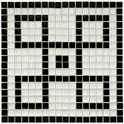 Merola Tile Tessera Ice White Greek Key 11-3/4-inch x 11-3/4-inch x 8 mm Glass Mosaic Mural Tile (9.79 sf/case)