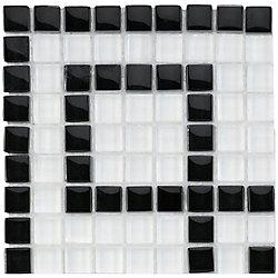 Merola Tile Tessera Ice White Greek Key 5-7/8-inch x 5-7/8-inch x 8 mm Glass Mosaic Corner Tile (5.5 sqft/case)