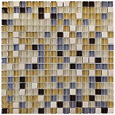 Carreau de mosaïque en verre pierre 11 3/4 po x 11 3/4 po x 8 mm Tessera Mini River (9,79 pi2/bte)