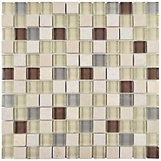 Carreau mosaïque carrée en verre pierre 11 5/8 po x 11 5/8 po x 8 mm Tessera York (9,59 pi2/bte)