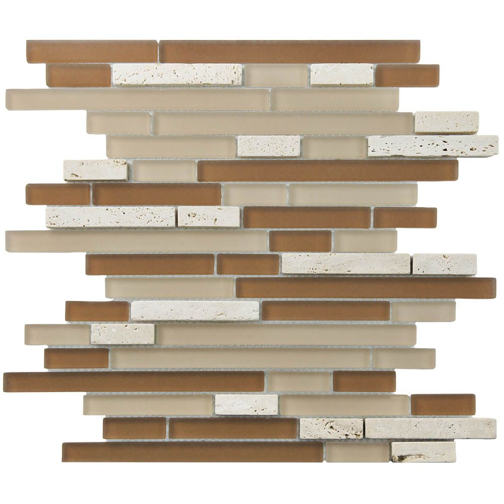 Merola Tile Tessera Piano Breno 11-3/4-inch x 11-7/8-inch x 8 mm Glass and Stone Mosaic Tile(9.9 sq. ft. / case)