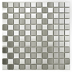 Merola Tile Alloy Square Checkerboard 12-inch x 12-inch x 8 mm Stainless Steel Over Porcelain Mosaic(10.21sf/ca)