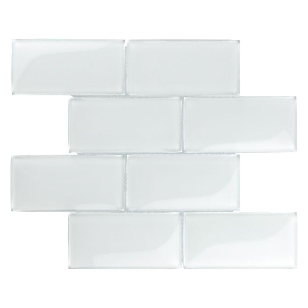 Merola Tile Igloo Convex Subway Ice White 11-5/8-inch x 11-7/8-inch x 12 mm Glass Mosaic Tile (4.9 sq.ft./case)